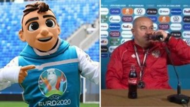 """Photo of تميمة """"يورو 2020"""" يسخر بطريقة طريفة من طريقة فتح مدرب روسيا لزجاجة """"كوكا كولا"""""""